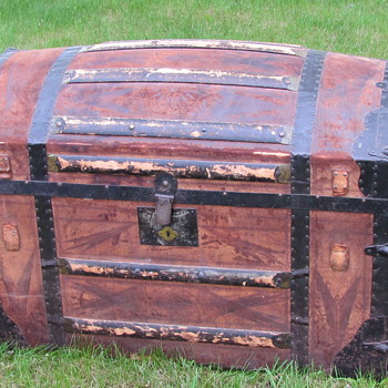 1866 +  Tooled Leather Dome Top Trunk - Furniture