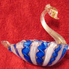 MURANO ART GLASS - VENETIAN - BLUE AND WHITE LATTICINO SWAN BOWL