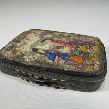 The Oddest Old Chinese Silver Box Carved & Painted Bone Lid Decoration - Damaged - Asian
