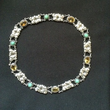 Skonvirke Scandinavian citrine & turquoise silver necklace c. 1910  - Fine Jewelry