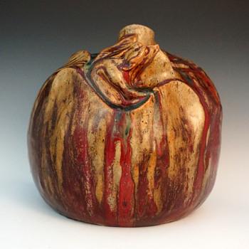 1893 Dalpayrat & Voisin-Delacroix Large Grotesquerie/Symbolist Sang de Boeuf Glazed Stoneware Vase  - Art Nouveau