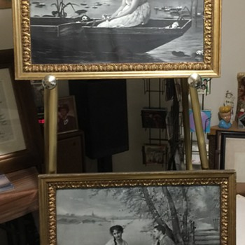 Antique 1902  Ullman Mfg. Co. Black and White Prints & Wood Frames Estate fine !  - Posters and Prints