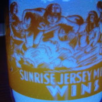 Sunrise Jersey Dairy (Oklahoma) Quart Milk Bottle...Football Scene - Bottles