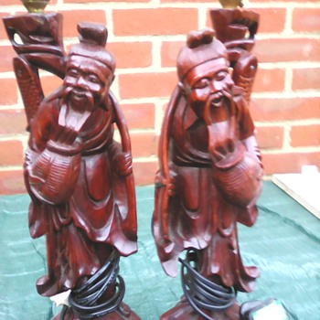 My Chinese root carved lamps - Asian