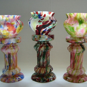 Bohemian Welz Mini Jardinières and Pedestals - Art Glass