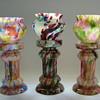 Bohemian Welz Mini Jardinières and Pedestals