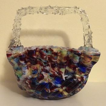 Welz mottled colours rustic handled basket