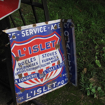 Porcelain L'ISLET STOVE Co. Sign - Signs
