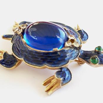 Vintage TRIFARI Alfred Philippe Blue Enameled Turtle Brooch Pin