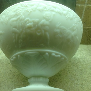 White punch bowl with interesting design - Glassware