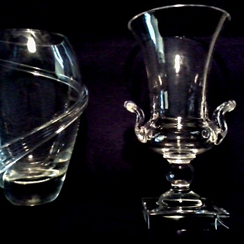OK Maybe Not Steuben Glass Handled Urn and Vase with Applied Ribbon / Circa 20th Century - Art Glass