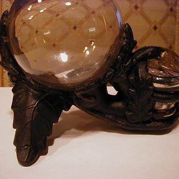 Cast Iron base glass ball inkstand patent 12/11/1855