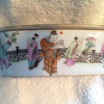 Chinese  Famille Verte Porcelain Cricket Box  - Asian