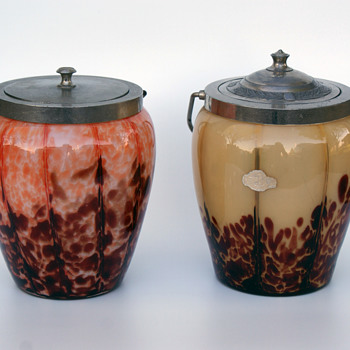 Pair of WELZ Biscuit/cookie Jars Stripes and Spots - Art Glass