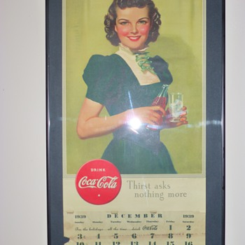 1939 Coca-Cola Calendar Thrift Store Framed & Hung - Coca-Cola