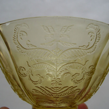 TWO AMBER DEPRESSION GLASS FOOTED SHERBETS - Glassware