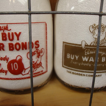 Two Borden Squat Quart War Slogan Milk Bottles...... - Bottles