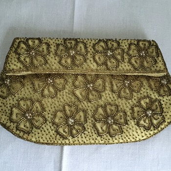 Walborg Gold beaded evening clutch with gold beads and pearls(?)