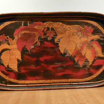 POKERWORK POINSETTIA BUTLER'S TRAY  - Arts and Crafts