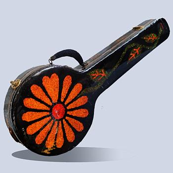 """Vintage Psychedelic Hippie Folk Art """"Glittery"""" Flower Power Wooden Banjo Case - Folk Art"""