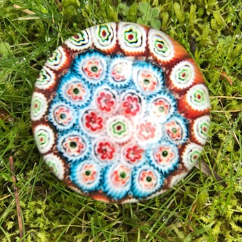 Murano glass miniature concentric millefiori paperweight - Art Glass