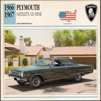 Vintage Car Card - Plymouth Satellite - Classic Cars