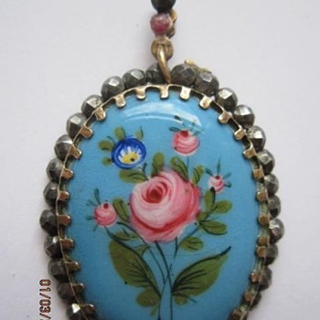 Georgian Enameled Pendant set in Cut Steel - Fine Jewelry