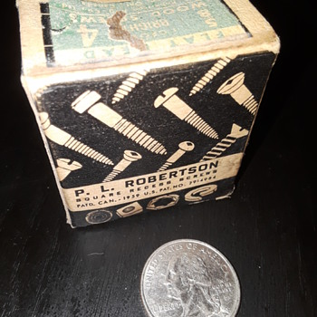 vintage little box of ROBERTSON SCREWS - Tools and Hardware