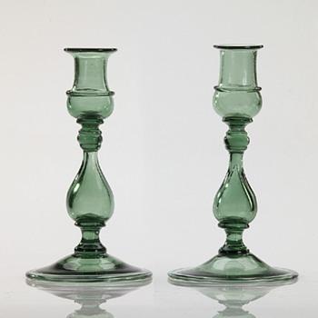 Green Candlesticks - Art Glass