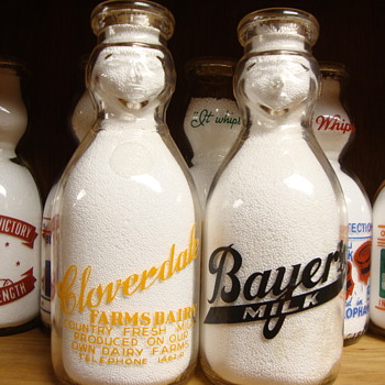 BAYER MILK & CLOVERDALE FARMS DAIRY COP THE CREAM MILK BOTTLES..... - Bottles