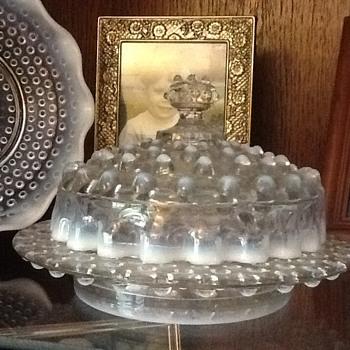 Moonstone Hobnail Butter Dish - Glassware