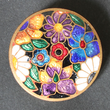 enamelled brooch - unknown maker and period - Costume Jewelry