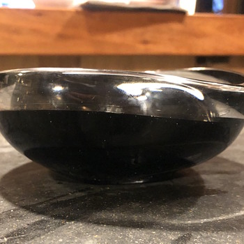 Signed black and white glass dish  - Art Glass