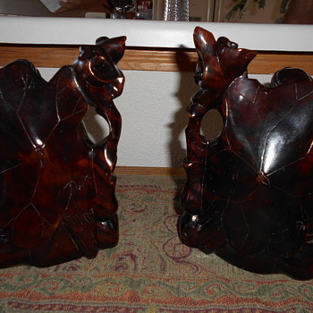 pair of chinese wooden figurines