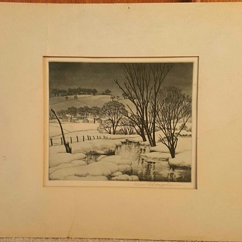 """Winter Symphony"", ca. 1940 etching print by Samuel Margolies - Fine Art"