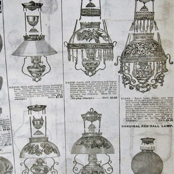 1906 Butler Brothers Oil Lamp Advertisements - A rare study of early lamps, accessories and designs. - Lamps