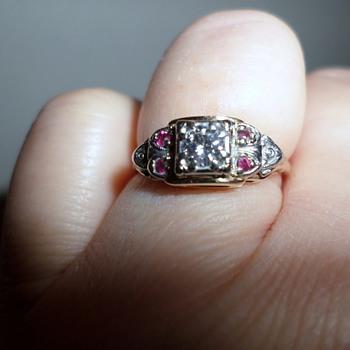 14 K Deco Diamond And Ruby Ring - Art Deco