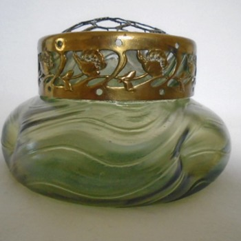 Art Nouveau Bohemian Rose Bowl - Art Glass