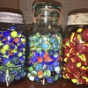 Glass Marble Collection in Crude Antique Canning Jars