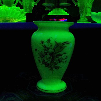 Czech uranium glass vase ... white - Art Glass
