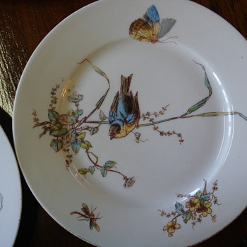 Aesthetic Bird plates impressed and hand painted unmarked