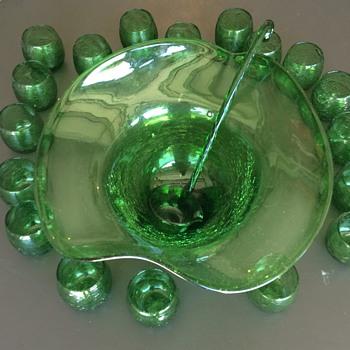 Green Crackle Glass Punch Bowl Set - Glassware