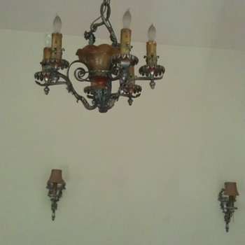 Lion Electric Mfg 1925 Chandelier & matching wall sconces