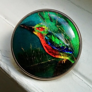 Kingfisher Enamel Jewelry, Arts and Crafts Style, Unknown Maker, possibly British Isles, ca 1900-1920? - Animals