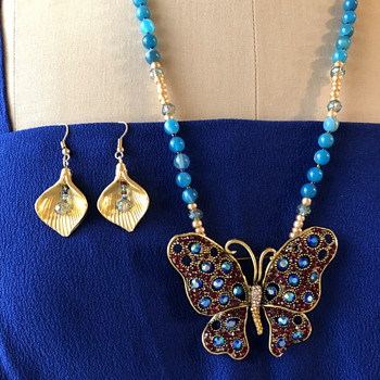 Updated Necklace/Butterfly brooch with CX logo initials (who is CX?) - Costume Jewelry