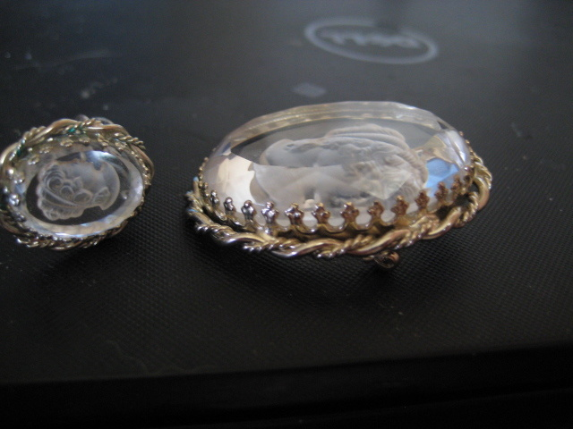 Vintage silvertone Joseph Warner intaglio crystal clip earrings