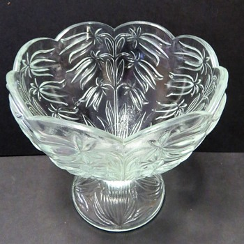 Pressed Glass footed bowl / Compote / Candy dish - Glassware