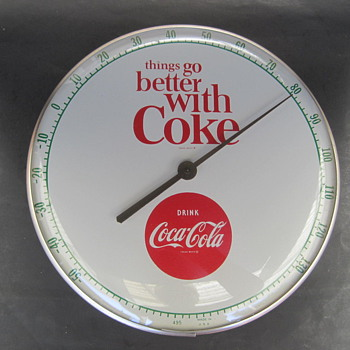 Vintage 1960 Coca Cola Thermometer white background - Coca-Cola