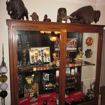 Large Antique Display Trophy Cabinet Out of Old School - Furniture