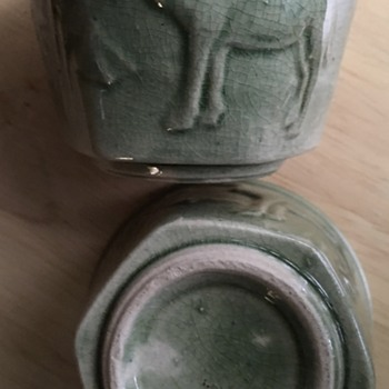 Japanese hexagonal tea bowl with Middle-Eastern motif! Celadon? 40's-50's?